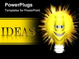 PowerPoint template displaying a bulb being lit up with ideas