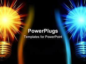 PowerPoint template displaying two shiny bulbs half