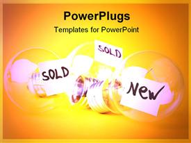 PowerPoint template displaying ideas for sale: one fresh and two sold. Bulb concept
