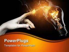 PowerPoint template displaying woman pointing to the illuminated bulb