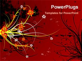 PowerPoint template displaying abstract grunge floral background