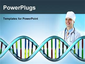 PowerPoint template displaying 3D DNA model with doctor depicting medical concept