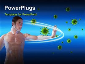 PowerPoint template displaying a man blocking viruses over a blue background