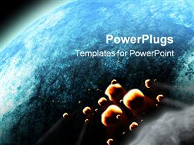 PowerPoint template displaying sun rising over the planet earth. Similar depictions can be found at my gallery