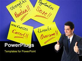 PowerPoint template displaying a person with a number of sticky notes and bluish background