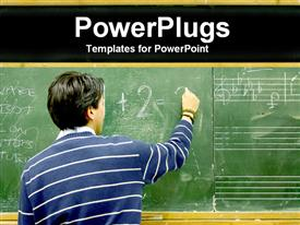 PowerPoint template displaying student writing in blackboard, mathematics, music, English, education, school