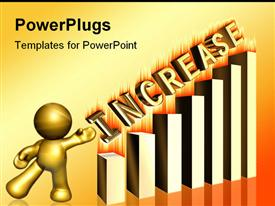 PowerPoint template displaying increase burning gold graph bar in the background.
