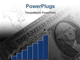 PowerPoint template displaying 2D bar chart with arrow over dollar bills and map