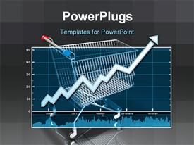 Rising data chart over top of a model of a simple shopping cart powerpoint design layout