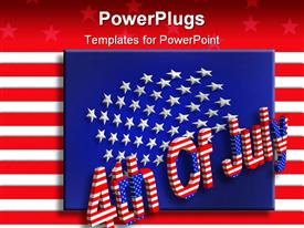 PowerPoint template displaying bright colourful USA flag with text which spell out the words