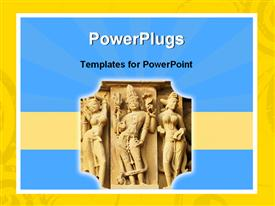 PowerPoint template displaying old Indian art in the background.