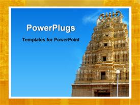 PowerPoint template displaying old Indian temple in the background.