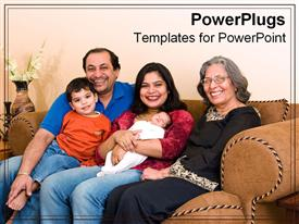 PowerPoint template displaying indian family sits together happily in the background.