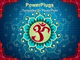 PowerPoint template displaying aum symbol, within a Lotus shape, within an ornamental red frame in the background.