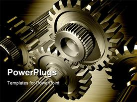 PowerPoint template displaying 3D gear wheels on steel background