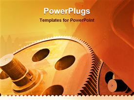 Aged multiple gears of industry powerpoint template
