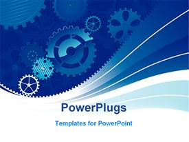 Blue gears background template for powerpoint