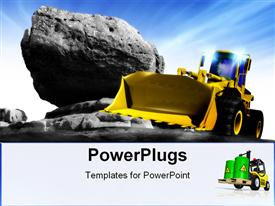 PowerPoint template displaying clean new powerful yellow earth mover construction truck posed against a rocky background and blue in the background.