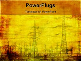 PowerPoint template displaying high voltage highly detailed industrial grunge background