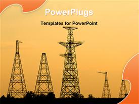 PowerPoint template displaying industrial belt with towers producing nuclear energy