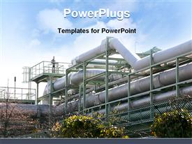 PowerPoint template displaying industrial plant with chemical pipelines and trees and sky in the background