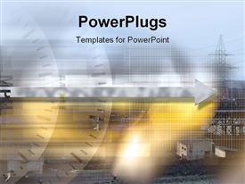 PowerPoint template displaying industrial Design in the background.