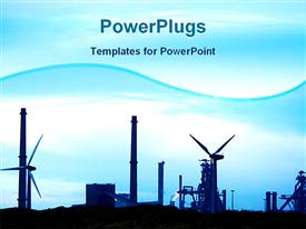 PowerPoint template displaying a representation of industry with bluish background