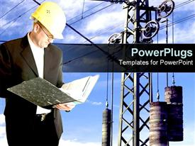 PowerPoint template displaying industry worker stands over electrical background