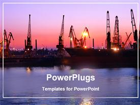 PowerPoint template displaying port depiction with naval ships at sunset with river water