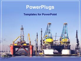 PowerPoint template displaying shipping industry in the background.