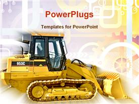 PowerPoint template displaying a golden bulldozer with multi colored background including lines and circles