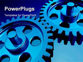 PowerPoint template displaying a number of gears with bluish background