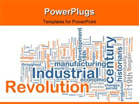 Word cloud concept industrial revolution powerpoint theme
