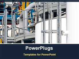 PowerPoint template displaying detail of a chemical plant in the background.