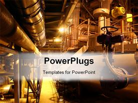PowerPoint template displaying hard work stainless steel factory  pipes and cylinders of a power plant