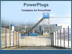 PowerPoint template displaying a factory in working condition with clear sky in the background