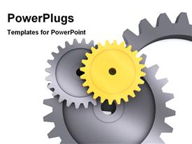 PowerPoint template displaying gears in the background.