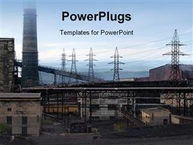 PowerPoint template displaying view of an industrial area with electrical power plants