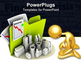 PowerPoint template displaying industry icon with crisis sheet pinned on the folder