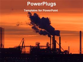 Industry at the time of sunset powerpoint template