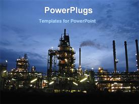 Night view of oil industry powerpoint template