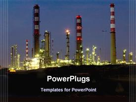 Night view of a oil refinery industry template for powerpoint