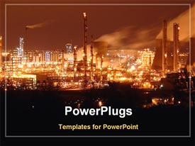 Night view of a oil refinery industry powerpoint design layout