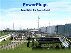 PowerPoint template displaying oil and gas plant