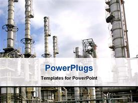 PowerPoint template displaying a close up view of a large oil refinery