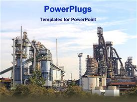 PowerPoint template displaying big industrial plant with vegetation and cloudy sky