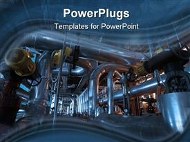 PowerPoint template displaying pipes tubes machinery and steam turbine at a power plant in the background.