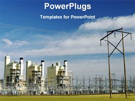 PowerPoint template displaying a depiction of power plants and clouds in the background