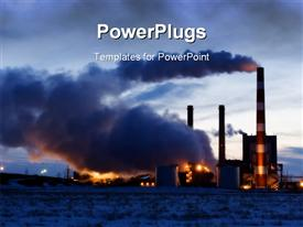 PowerPoint template displaying industrial plant spewing thick smoke, factory