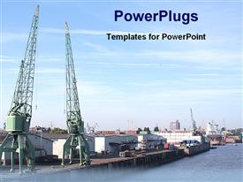 PowerPoint template displaying shipping transportation company in the background.